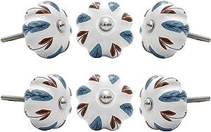 Warmhut 6PCS White Ceramic Cabinet Knobs Set Dresser Drawer Cupboard Pull Handle with Screws (Mulberry Leaf)