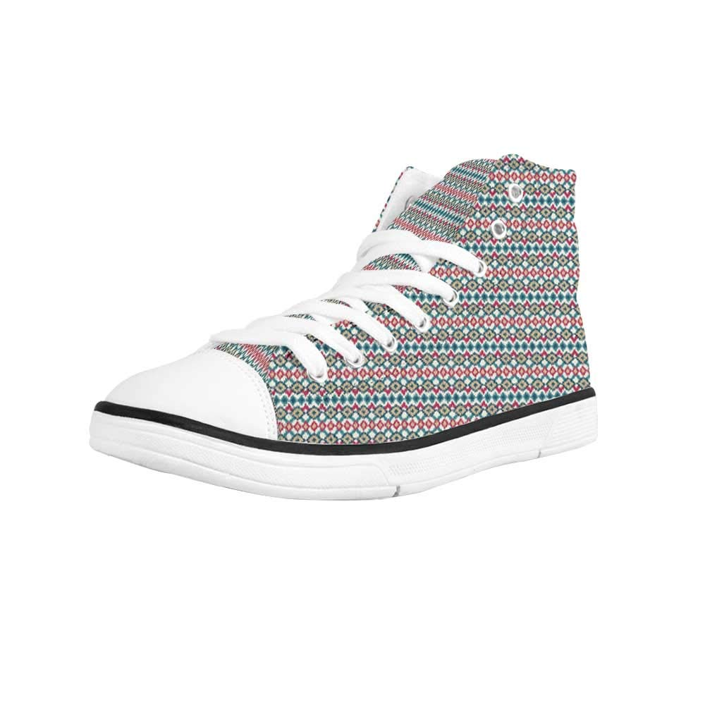 Ikat Comfortable High Top Canvas ShoesBohemian Ethnic Pattern Abstract Geometric Elements Soft Peacock Tail Pattern Decorative for Women Girls,US 5