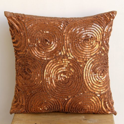 Luxury Copper Pillows Cover Spiral Sequins Antique Throw