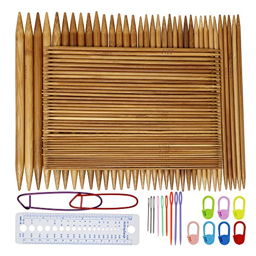Onshine Knitting Needles Set 75Pcs 8 inch Length Bamboo Double Pointed Knitting Needles 15 Sizes 2 mm - 10 mm with 45Pcs Exquisite Knitting Accessories by Onshine