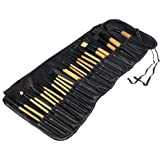 STELLAIRE CHERN Makeup Brush Set 24pcs Wood Handle Essential Makeup Kit with Travel Pouch