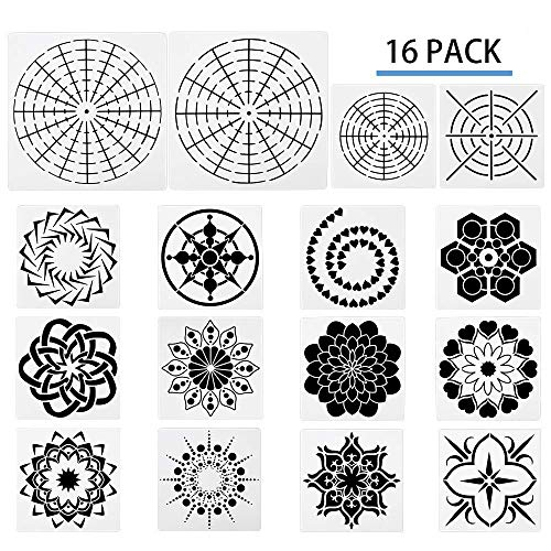 (LAVZAN 16 Pcs Plastic Dotting Stencils Mandala Dotting Stencils Template- Different Patterns Dot Painting Templates for Stone Wall Art, Canvas, Wood Furniture)