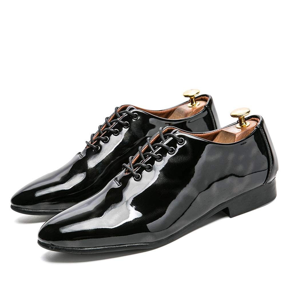 TongLing Mens Fashion Oxford Casual Low Top Personality Contrast Color Patent Leather Formal Shoes Semi Formal