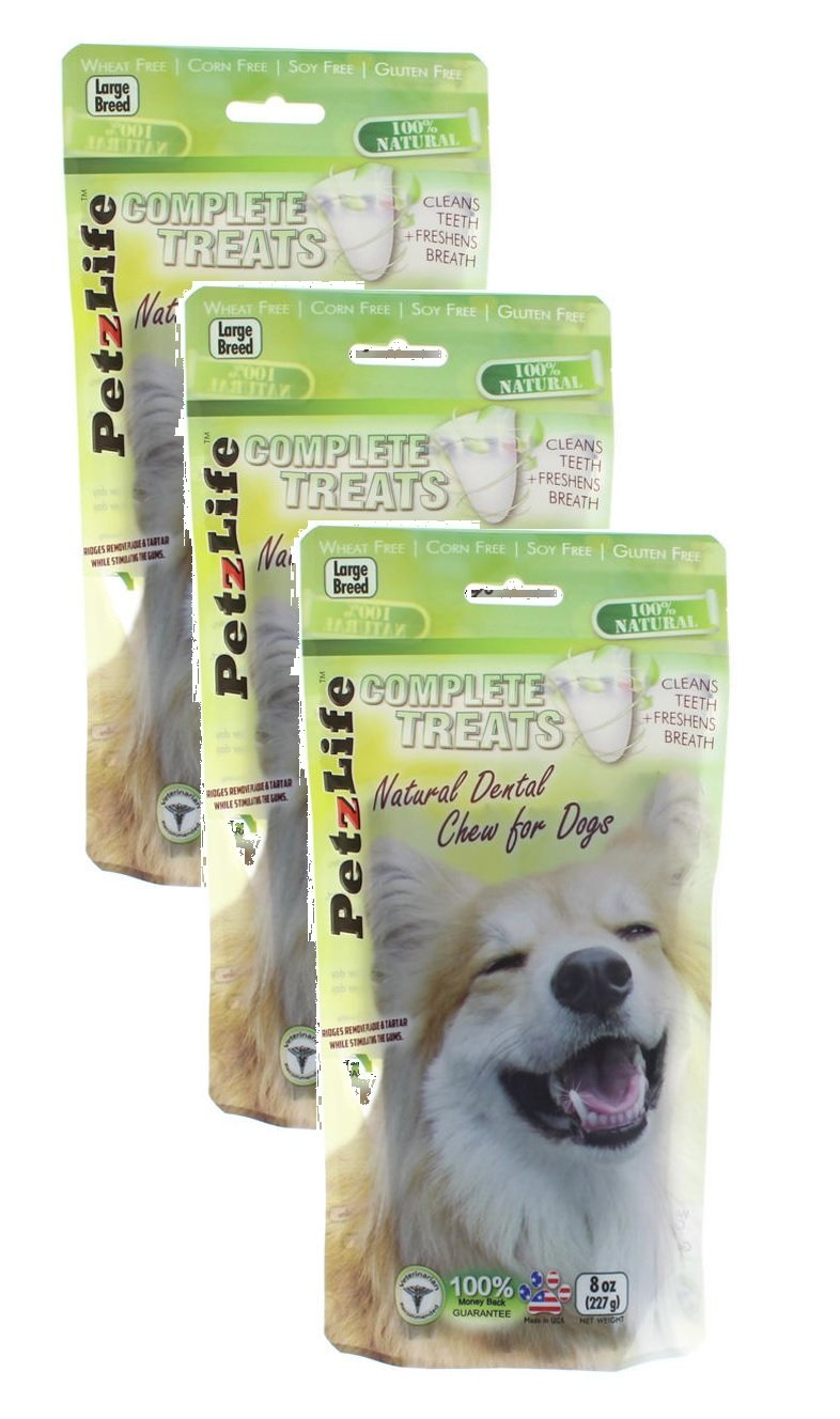 3 Pack PetzLife Complete Treats Natural Dental Chews for Dogs, 8 oz Large Breed