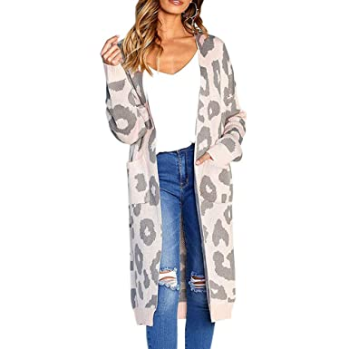 4bc1e488fa1 PESION Womens Long Sleeve Front Open Pink Leopard Cardigan Sweater with  Pockets
