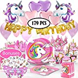Unicorn Birthday Party Supplies Set | 179 pcs Unicorn Party Decorations & Unicorn party favors with tableware kit…