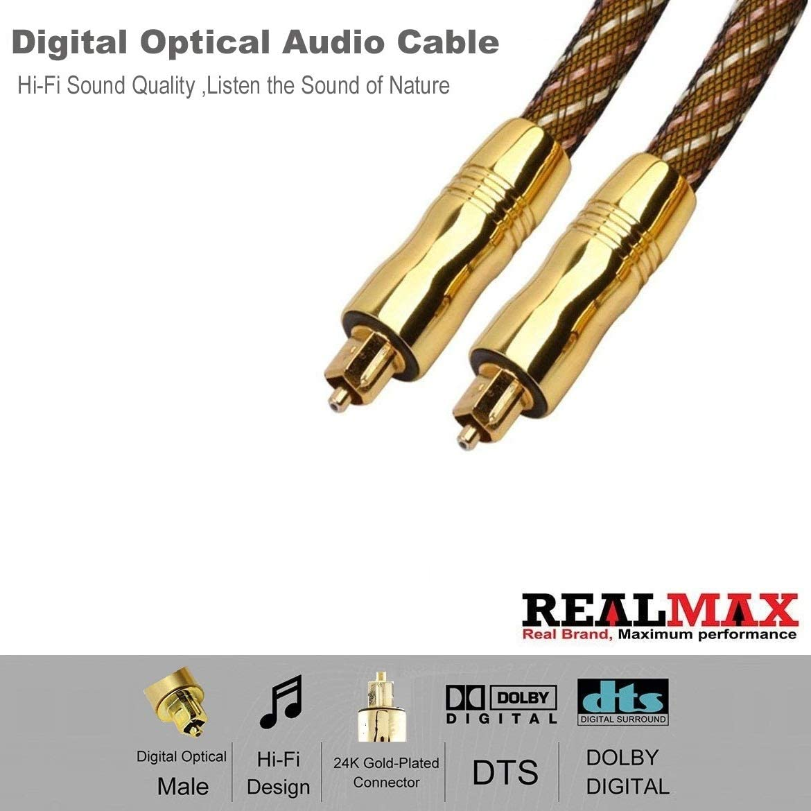 REALMAX Toslink Cable 1m 2m 3m 4m 5m 10m Digital Fiber Optical Male to Male Lead Audio Premium Quality Supports LG Samsung Sony Philips Sound Bar Smart TV HDTV Home Theater PS4 Xbox PlayStation【3m】