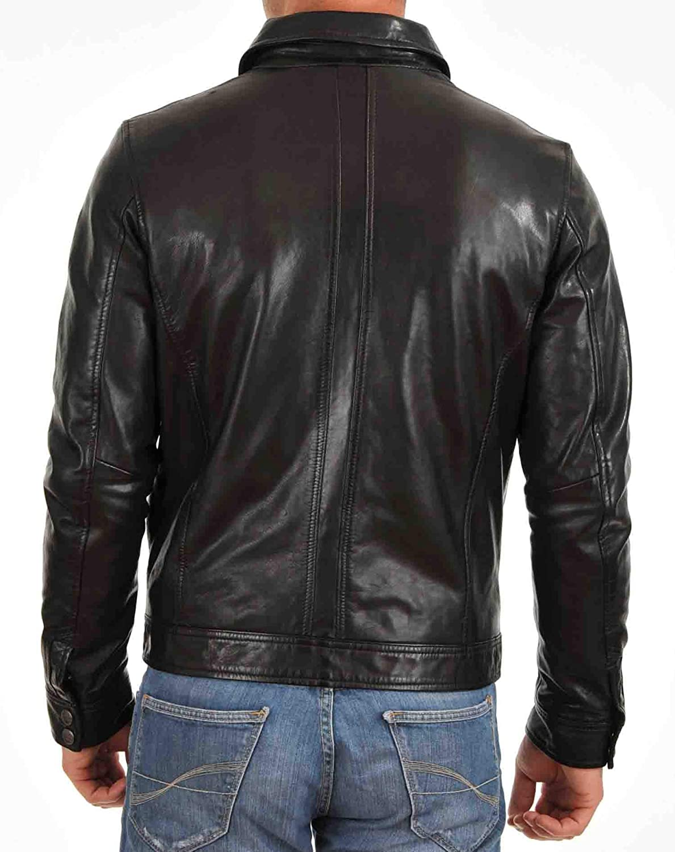 Ayesha Mens Leather Jackets Motorcycle Bomber Biker Genuine Lambskin 55
