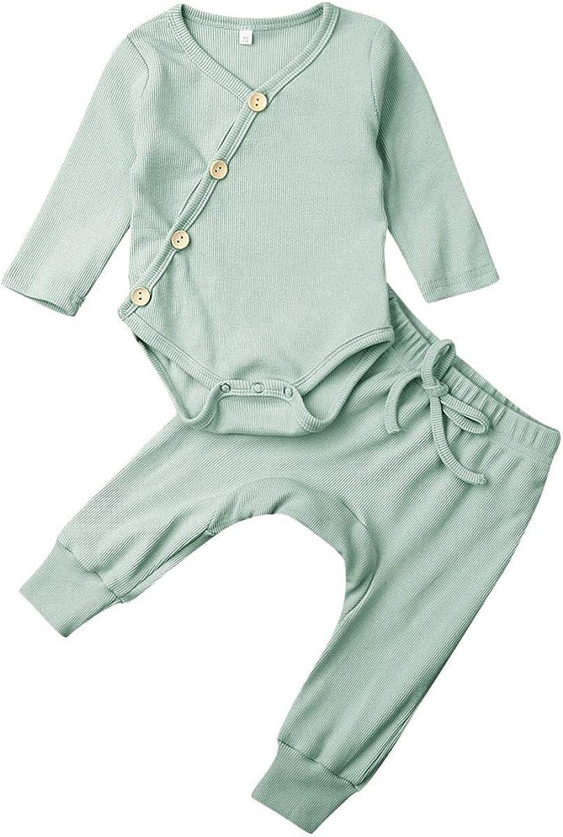 Newborn Unisex Baby Organic Cotton Kimono Onesies+Solid Pants-Basic Plain  Rib Stitch Knitted Outfits Set