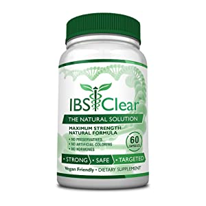 IBS Clear™ - 100% Natural IBS Relief with Vitamin D, Psyllium Husk, Fennel. 60 Vegan Friendly Capsules - 1 Bottle