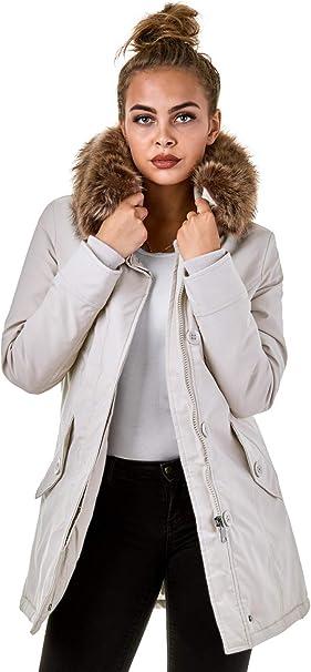Damen Parka Echtfell Winter Jacke Schwarz XL, 129,99 €