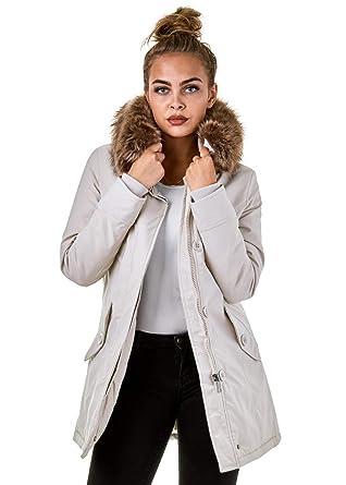 EightyFive Damen Jacke Parka Winterjacke Kunstfellkapuze Schwarz Khaki  EF1828-05  Amazon.de  Bekleidung 2fce5c30ad