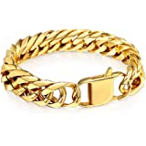 Hermah Heavy Mens Bracelet Chain 316L Stainless Steel Silver Gold Black Color Punk Double Curb Cuban Rombo Link 10/15mm 7-11i