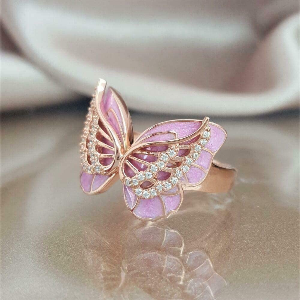 White Topaz 18K Rose Gold Plated Pink Enamel Butterfly Jewelry Ring Gift Sz5-10 9