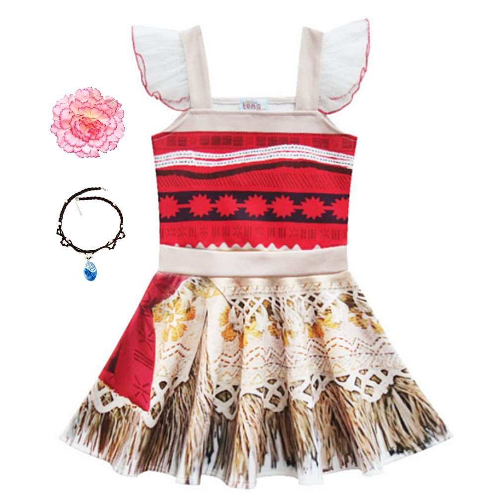 Little Girls Princess Dress Lace Ruffle Sleeve for Moana Costume Outfit with Necklace Flower For Halloween Christmas Dress Up (110 (3-4Y), Red)
