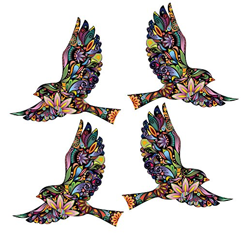 MyWonderfulWalls Flying Floral Bird Decals for Walls and Windows, Multicolored, Set of 4