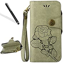 Flip Case for Huawei P10,Wallet Case for Huawei P10,Leeook Retro Elegant Light Green Rose Flower Leaf Creative Pattern Design Luxury PU Leather Magnetic Closure Buckle Flip Wallet Folio Inner Soft TPU Case with Card Slots Stand Function Book Style Strip Bumper Cover Case for Huawei P10 + 1 x Free Black Stylus