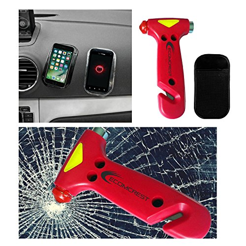 Car Safety Hammer, Window Breaker and Seatbelt Cutter. Pack of 2. Comes With Dashboard Mat by Ecomcrest (Image #4)