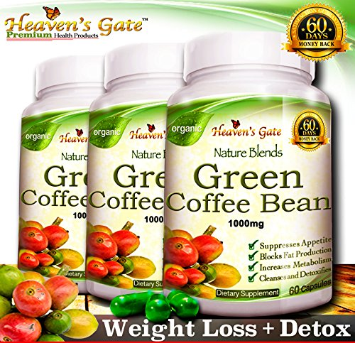 100% Pure Green Coffee Bean Extract – 180 Capsules – Max Strength Natural GCA Antioxidant Cleanse for Weight Loss, 800mg w/ 50% Chlorogenic Acid per Pill, 1600mg Daily Supplement, Healthy… For Sale