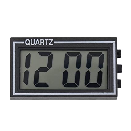 Greetuny 1pcs Mini Reloj Digital Negro Reloj LCD Coche Moda Simple Reloj Pared Adhesivos Calendario