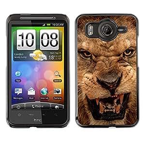 Caucho caso de Shell duro de la cubierta de accesorios de protección BY RAYDREAMMM - HTC G10 - Roar Lion Angry Close Eyes Teeth Portrait