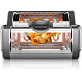 NutriChef Digital Countertop Rotisserie Oven - Rotating Roaster Grill Oven Stain Resistant Stainless Steel, Tempered Glass Includes Kebob Rack with 7 Skewers - PKRTVG65BK