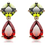 Yellow Chimes Floral Drop Multicolor Swiss Cubic Zirconia 18K Gold Plated Earring for Women and Girls