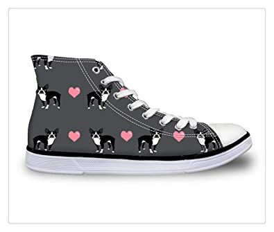 2018 Sneakers Women Vulcanize Shoes Boston Terrier Red High-top Canvas Shoes Tenis Feminino Casual