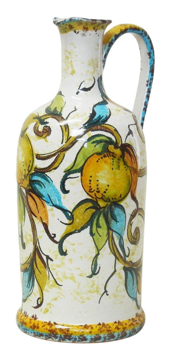 【イタリア製マヨルカ焼】 陶器花瓶/花柄 H21X12X9cm N5-BT21FL B076H33XB5 H21X12X9cm|花 H21X12X9cm