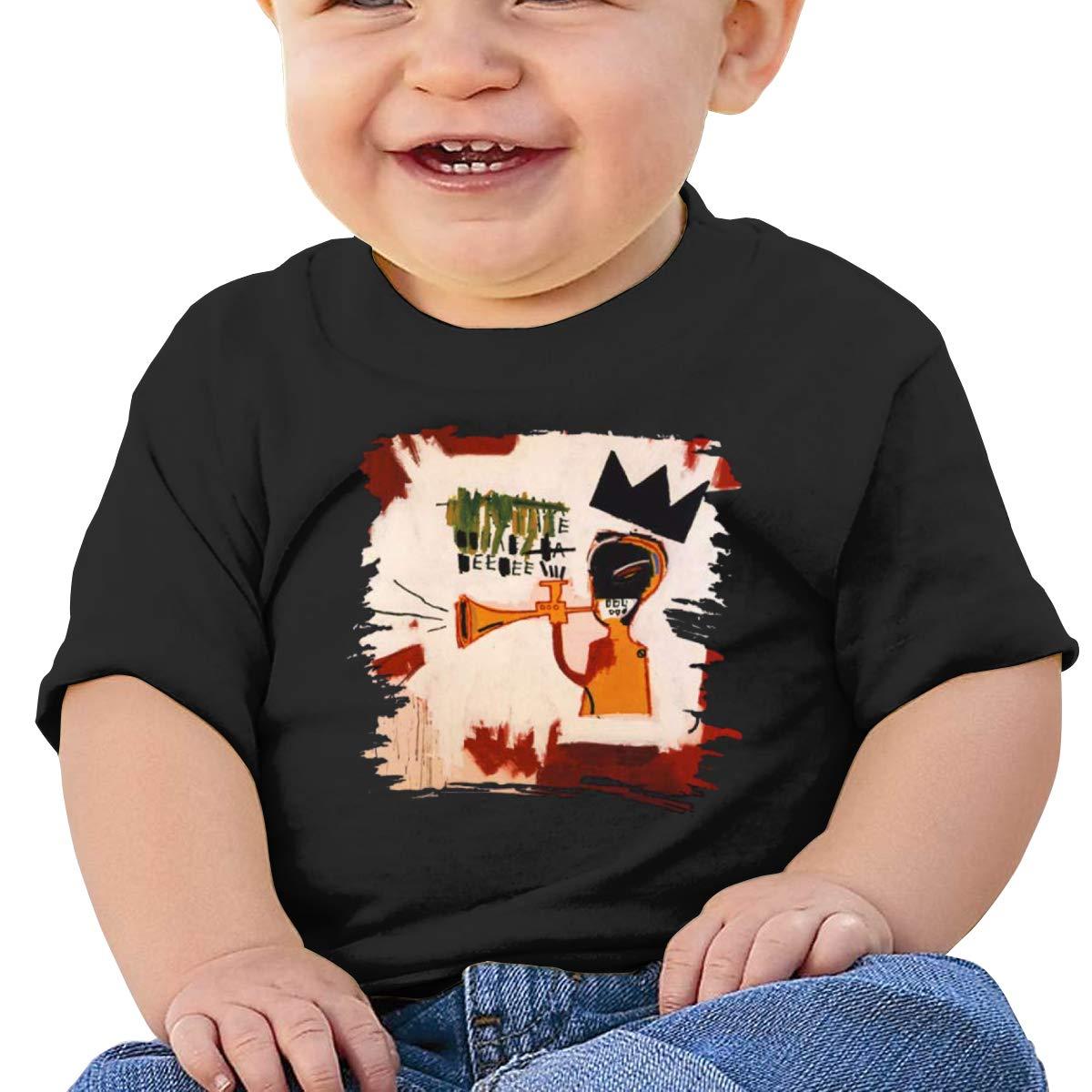 MONIKAL Unisex Infant Short Sleeve T-Shirt Jean-Michel-Basquiat Toddler Kids Organic Cotton Graphic Tee Tops