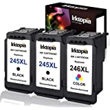 Inktopia 3 pack Remanufactured Ink Cartridge Replacement For Canon PG 245XL 245 XL & CL 246XL 246 XL (2 Black+1 Tri-Color) Wi