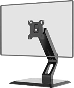 """Free Standing Single Touch Screen Monitor Stand Gas Spring Adjustable Desk Mount Fits One Screen up to 27"""", 22 lbs. Weight Capacity (GSMF001), Black by WALI"""