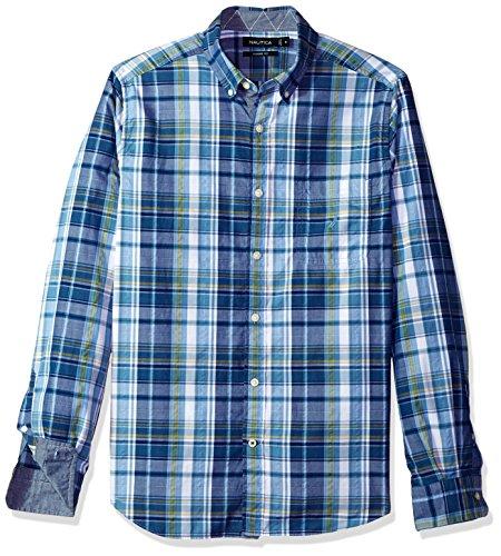 Nautica Men's Long Sleeve Classic Fit Plaid Button Down Shirt, Tide Blue, Large