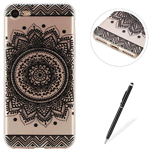 iPhone 7 iPhone 8 4.7 Silicon Case, MAGQI Drop Protection Scratch-Resistant Protective Shell Translucent Ultra Thin Flexible Soft Gel TPU Cover for iPhone 7 iPhone 8 4.7 - Black Henna Mandala