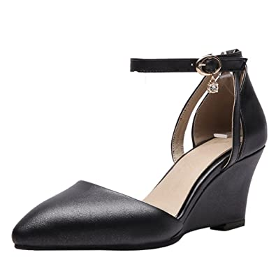 a038bdd99151 Show Shine Women s Ankle Buckles Wedge Heel Dress Shoes (4.5
