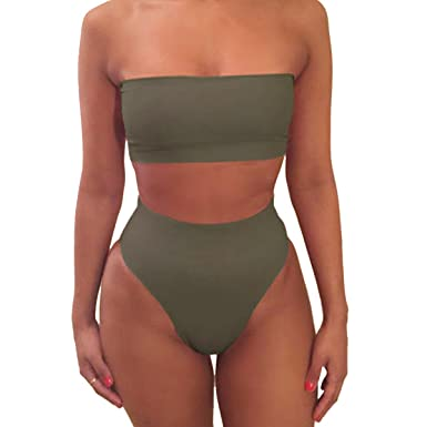 0fec6b2f779 Amazon.com: NE Norboe Strapless Two Piece Bathing Suit Sexy Cute High  Waisted Bikini Top Swimsuits for Women: Clothing