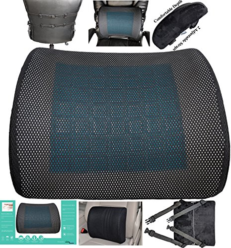 Hearts Bucket Seat Cover (CHRISTMAS FLASH SALE! Ergonomically Contoured Memory Foam Lumbar Cushion with Back Strap to Provides proper back rest Lower Back Support office chair car. Free Replacement for any Damages.)