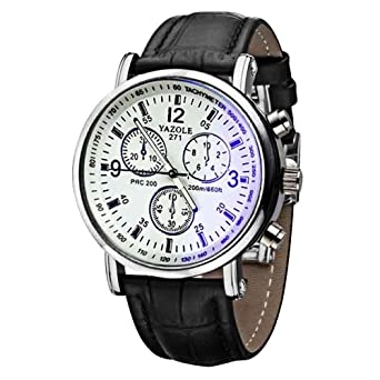 Amazon.com: Luxury Watches for Men DYTA Stainless Steel Case Leather Strap Wrist Watch on Clearance Simple Watches Blue Face Casual Analog Quartz Watches on ...