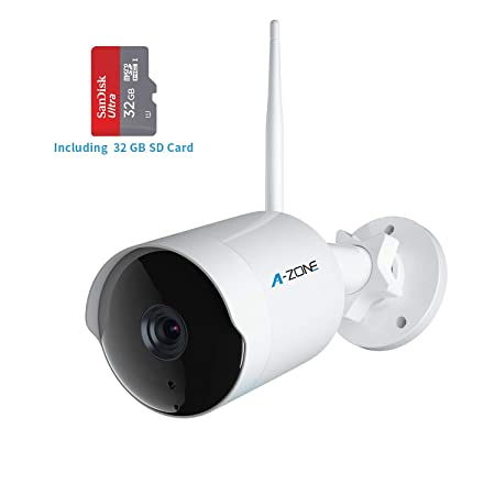 Outdoor Security Camera – HD 1080P Bullet Camera 2.4G IP66 Waterproof 50ft Night Vision Home Surveillance IP Camera Two-Way Audio, Motion Detection Alarm Recording, Including 32GB SD Card