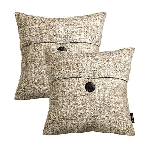 Modern Decorative Throw Pillow - PHANTOSCOPE Set of 2 Button Beige Linen Decorative Throw Pillow Case Cushion Cover 18