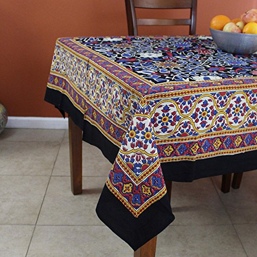 Unique Handmade 100% Cotton Sunflower Tablecloth 60x60 Square Black & Yellow by India Arts