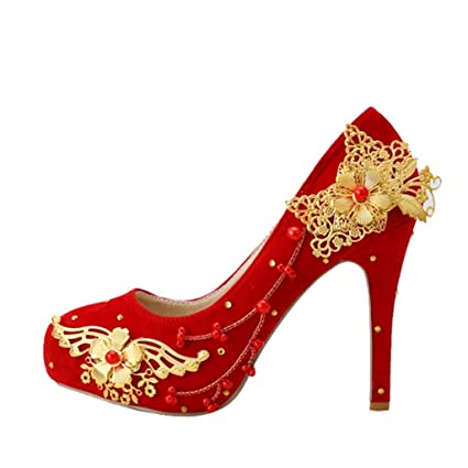 Bridal shoes - classic Chinese wedding shoes red high heels shoes cheongsam  shoes(With height  11cm) - Women s wedding shoes (Color   RED bd2000d2ce31