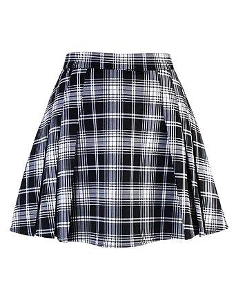 Shaoyao Mujer Mini Falda Plisada Alta Cinturilla Colegiala ...