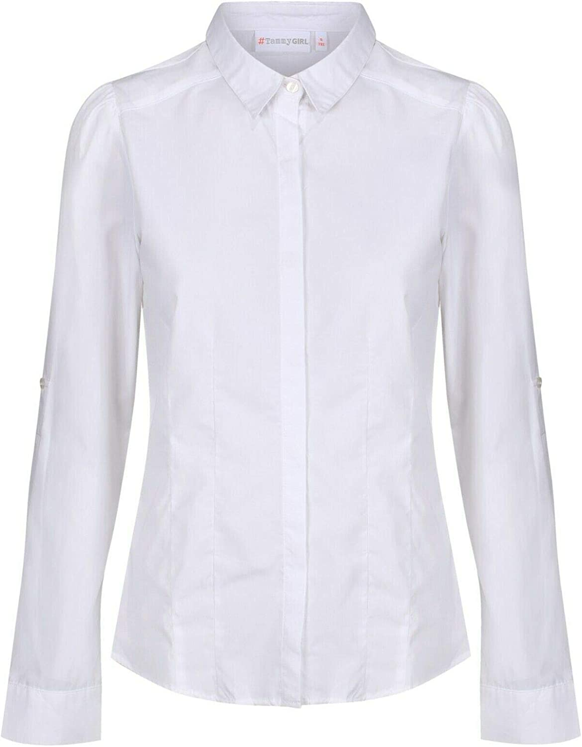 EX-BHS Tammy Girls School Shirt Blouse Ages 4-16y Long Sleeve Roll Up Sleeve Slim Fit