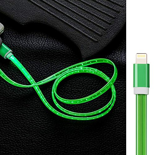 iPhone Lightning Charger Cable,3ft Visible Flowing LED USB Cable Sync Data Fast Charger for iPhone X/8/8 Plus/7/7 Plus/6/6 Plus, iPod and iPad and more-free Cell Phone Finger Ring (Green Led Usb)