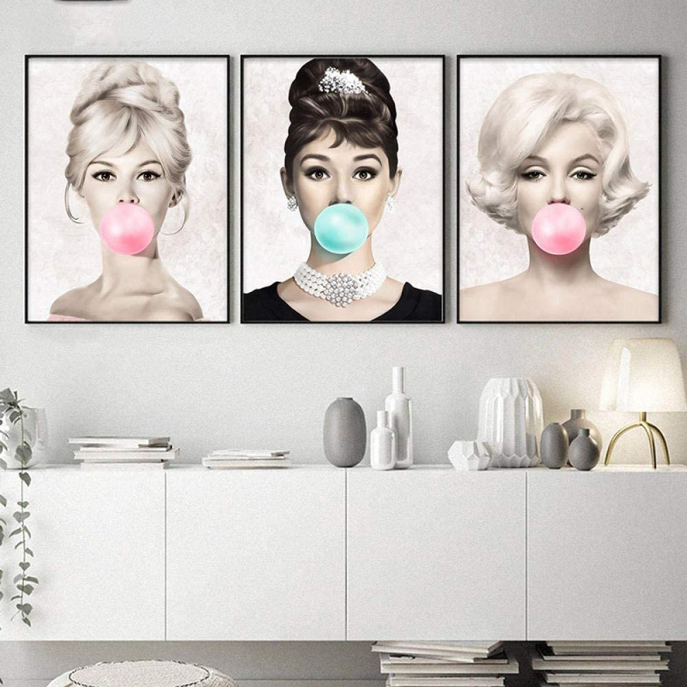 HMOTR Carteles e Impresiones Lienzo Audrey Hepburn Marilyn Monroe Bubble Gum Wall Art Poster Modern Art Wall Picture Woman Home Decor-60x80cmx3pcs_No_Frame