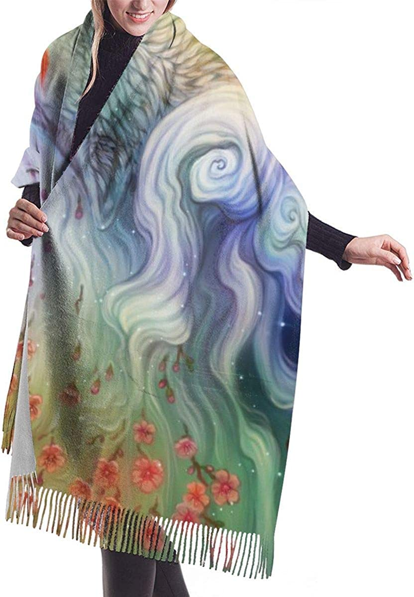 Starry Sky Colorful Wolf Flowers Floral Lotus Womens Cashmere Scarf Fashion Long Shawl Warm Muffler