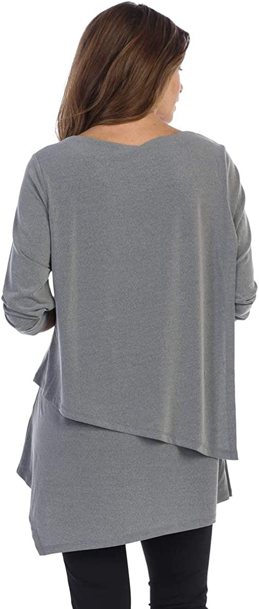 By JJ Wrinkle-Free Round Neck 3//4 Sleeve Top