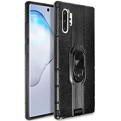 Galaxy Note 10+ Plus/Pro/5G Case, Stylish Dual Layer Hard PC Back Case with 360 Degree Rotation Finger Ring Grip Kickstand, Magnetic Car Mount Feature for Galaxy Note 10+ Plus,#2Black