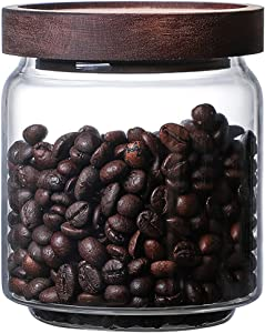 MOLADRI 480ML/16Oz Clear Cute Glass Storage Canister Holder with Airtight Wood Lid, Modern Decorative Small Container Jar for Coffee, Spice, Candy, Salt, Cookie, Condiment, Pepper, Sugar